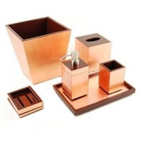 Copper Leaf Inlay with Coffee Brown Lacquer Bath Collection