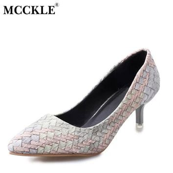 MCCKLE Women Fashion High Heels Sexy Party Dress Pumps Female Straw Pointed Toe Slip On Shallow Shoes Woman Comfortable Footwear