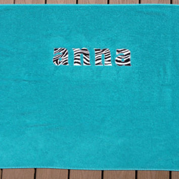 Personalized Beach Towel or Pool Towel Teal with Zebra Other Fabrics available Tween Teen Gift Graduation Gift Dorm Room