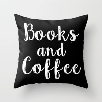 Books and Coffee - Inverted Throw Pillow by Bookwormboutique