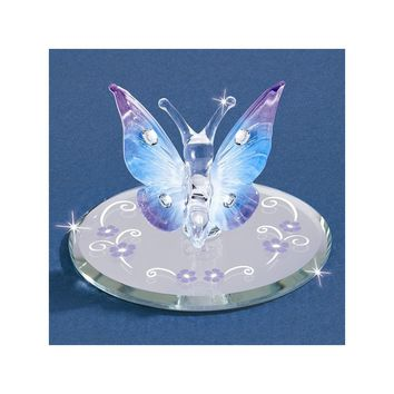 Blue Butterfly with Crystals Glass Figurine