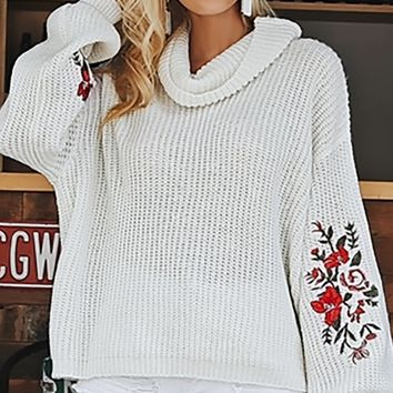 Fall Florals Long Lantern Sleeve Floral Pattern Embroidery Cowl Neck Pullover Sweater