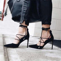 Summer Sandals Women High Heels Sexy Pointed toe Ankle Strappy Lace Up Pumps Ladies Stilettos Genova Shoes Woman Red Black Beige