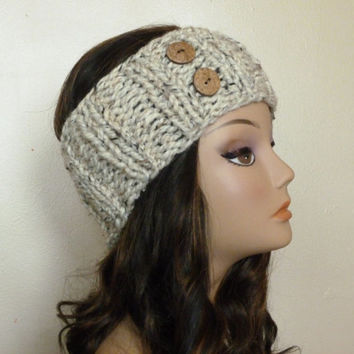 Hand knit headband headwrap ear warmer in oatmeal with two wood buttons - winter accessories fall fashion knit earwarmer headband neutral