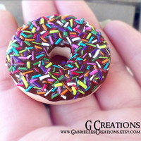 Sprinkled Donut Ring - Hand sculpted Kawaii Miniature Ring - Chocolate doughnut