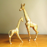 Vintage Brass Giraffes, Mother Baby Giraffe Figurines, Two Giraffes, Brass African Animals, Pair