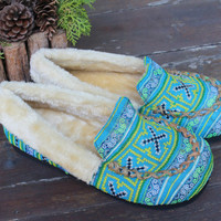 Womens Slippers Moccasin Style In Ethnic Hmong Blue Embroidery With Plush Lining Gift
