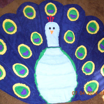 Peacock Fleece Quilted Rag Blanket