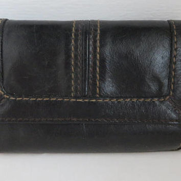 Women's Fossil Leather Wallet, Black Tri-Fold Wallet, Credit Card Case, Zippered Coin Purse, Vintage Leather Billfold