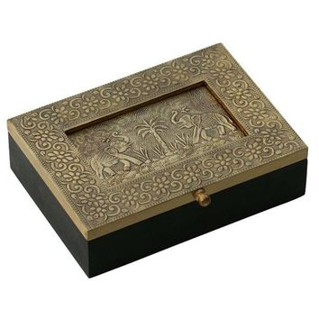 Handmade 7.5 Wooden Jewelry Box With Embossed Metal Sheet Day-First™