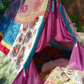 Gypsy Wedding Tent silk hippy scarf hippie patchwork canopy Wedding Decor photo prop backdrop Bohemian