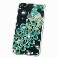 New Luxury Purple Peacock Bling Crystal Diamond Transparent Case Back Cover for Iphone 4/4s/4g/At&t/verizon