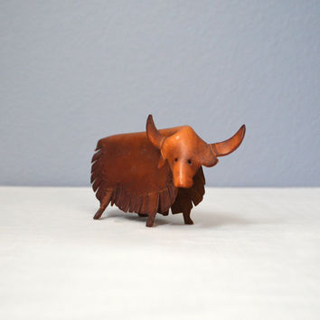 Vintage Leather Bull Figurine Deru Style
