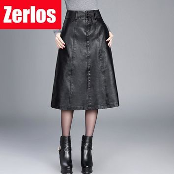 women Winter midi skirt 2016 spring womens high waist PU leather skirt faldas vintage saias plus size M-4XL