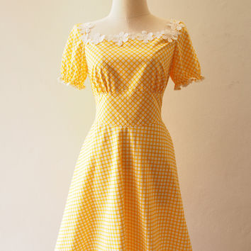 Happily Ever After - Puff Sleeve Dress Yellow Plaid Dress Gingham Dress Summer Dress Floral Lace Trim Swing Skirt Dress Homecoming Dress