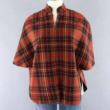 Vintage 1940s Red Wool Plaid Cape Jacket