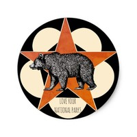 Love Your National Parks Mountain Bear Stickers