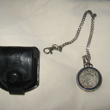 vintage Franklin Mint collector wolf pocket watch with original leather pouch