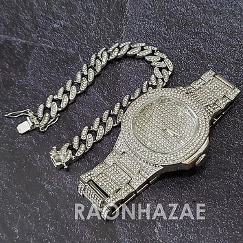 Silver Raonhazae Hip Hop Iced Lab Diamond Drake 14K White Gold Plated Watch with 12mm Cuban Link Bracelet Set