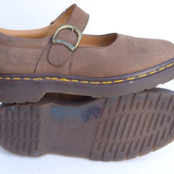 Vintage Dr. Martens Brown Matte Leather Mary Janes Shoes UK 4, US womens 6