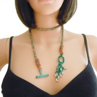 Green and Gold Crocheted Rope Necklace Lariat