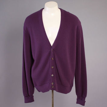 Vintage 80s Men's Sweater / 1980s Purple Jantzen Cardigan L