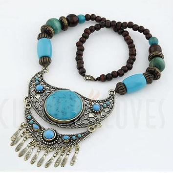 Sky Blue Bohemian Women Large Gems Long Necklaces = 1928592580