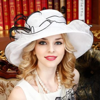 White Women's Sun hat Derby Church Wedding Noble Dress hat organza feather hat