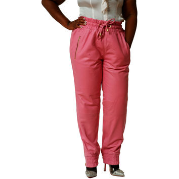 Womens Unisex Pastel Pink Leather Sweat Pants / Joggers Relaxed Fit Smooth Nappa Sheepskin Red Liner