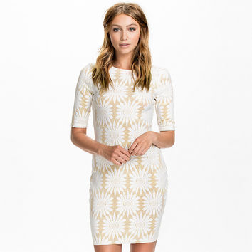 Gold & White Flower Print Three-Quarter Sleeve Mini Dress