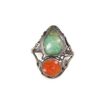 Chinese Jade Faceted Carnelian Sterling Silver Ring Size 4.5 Art Deco Period