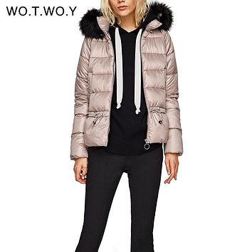 WOTWOY Winter Duck Down Jacket Women Slim Drawstring Down Coat Solid Thick Female Down Jackets With Fur Hood Women Parkas 2017