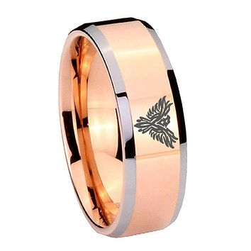 8MM Rose Gold Phoenix Bevel Edges 2 Tone Tungsten laser Engraved Ring