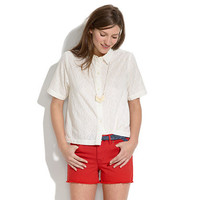 Soft Embroidery Cropped Shirt