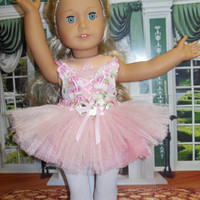 "American girl doll clothes ""Beautiful Ballerina"" (18 inch) leotard beaded tutu ballet shoes toe shoes OOAK"