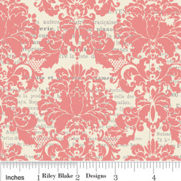Damask Fabric in Pink and Cream Cotton by Riley Blake Designs, Lost and Found, 1/2 Yard, LAST PIECE AVAILABLE
