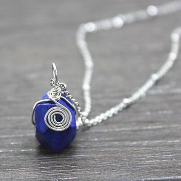 vintage style handmade natural lapis lazuli energy stone necklace gift 161  number 1