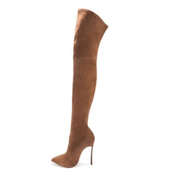 2016 women thigh high boots over the knee high heel boots winter and autumn woman shoes plus size 4-11 botas mujer femininas