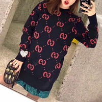 """Gucci"" Women Fashion Bat Embroidery Double G Logo Letter Long Sleeve Knitwear Sweater Tops"