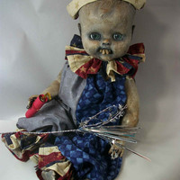 "One of A Kind Altered Art Patriotic Creepy Doll Monster"" Mischievous Edmund"" Freaky Awful Scary Haunted Weird L.Cerrito Salvage Artist Doll"