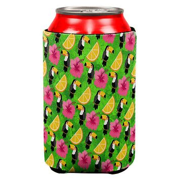 Tropical Vacation Tucan Pattern All Over Can Cooler