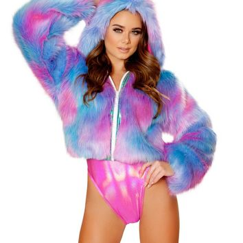 Purple/Pink Cotton Kandi Cropped Faux Fur Rave Coat
