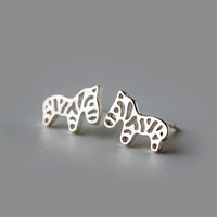 Cute Zebra Earrings, sterling silver Zebra Stud Earrings, Zebra studs, horse earrings,animal stud earrings,animal earrings