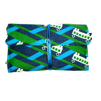 Turquoise green Tobacco pouch, Buses retro print, Fabric Tobacco pouch, Kokka - Echino pouch, Cotton-Linen blend medium weight, unisex gift