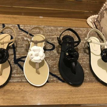 Chanel Women Fashion Leather Flower Bow summer Casual Flat Sandals