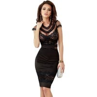 Women's Fitted Black Lace Dress