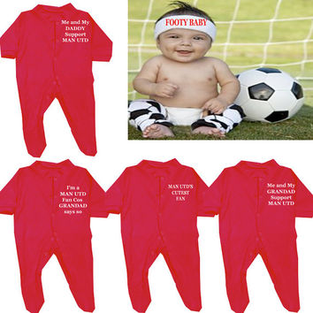 Football 1 x SLEEPSUIT with poppers  Manchester United Liverpool Arsenal Chelsea Spurs
