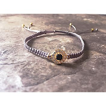 Silver Macrame Bracelet with circle crystal connector