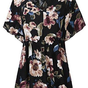 FANSIC Women Floral Print TopsCasual Short Sleeve Empire Waist Babydoll V Neck Tunic Blouses