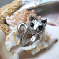 Sterling Silver Kabana Cat Wrap Ring with Sapphire Eyes 4.76g Size 6